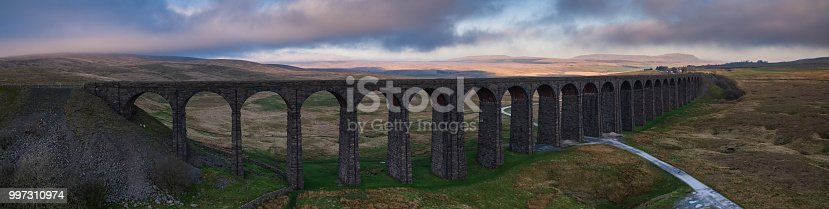 Aerial panorama of the Ribblehead Viaduct, the 24-arched bridge that carries the Settle-Carlisle Railway across Batty Moss in north Yorkshire, England