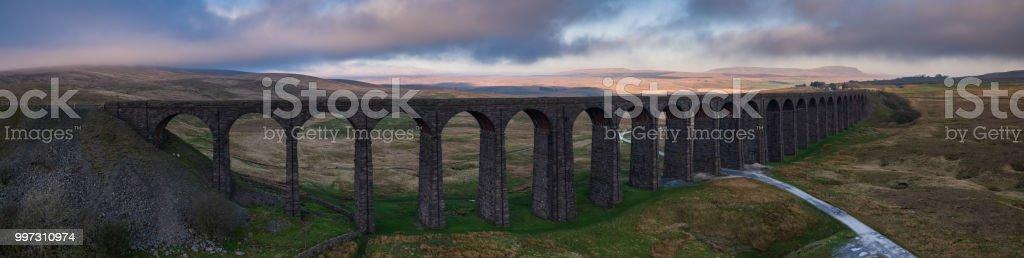 Ribblehead Viaduct - Aerial Panorama stock photo