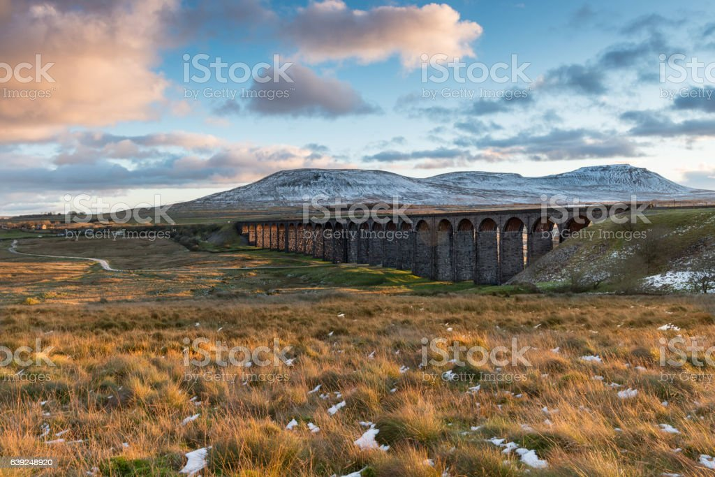 Ribblehead Viaduct in the Autumn Evening Light stock photo