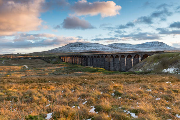 ribblehead viaduct in the autumn evening light - cumbria stock photos and pictures