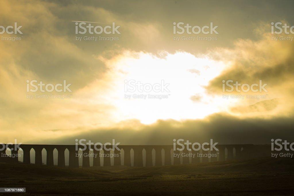 Ribblehead Viaduct on Foggy Evening stock photo