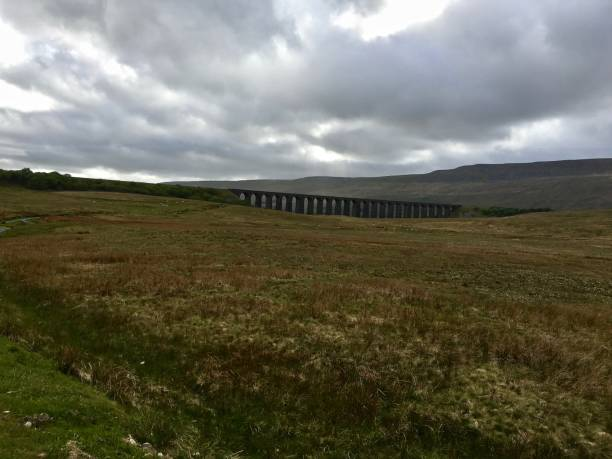 ribblehead viaduct under a morose sky - mcdermp stock pictures, royalty-free photos & images