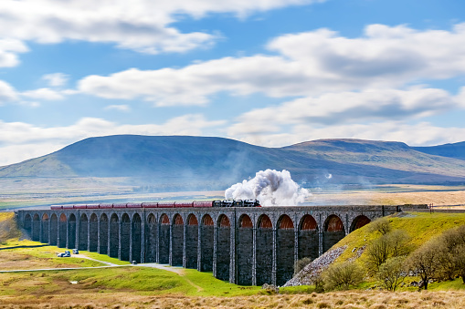Steam train crossing the Ribblehead Viaduct, Yorkshire Dales, England, UK