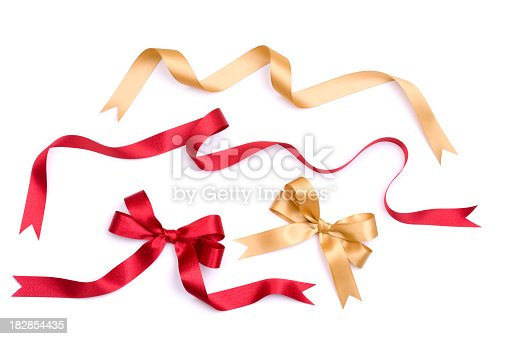 A set of gold and red satin bows and ribbons.ALL NEW CHRISTMAS 2010