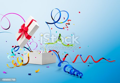 istock Ribbon And Confetti Popping Out From Gift Box 499885766
