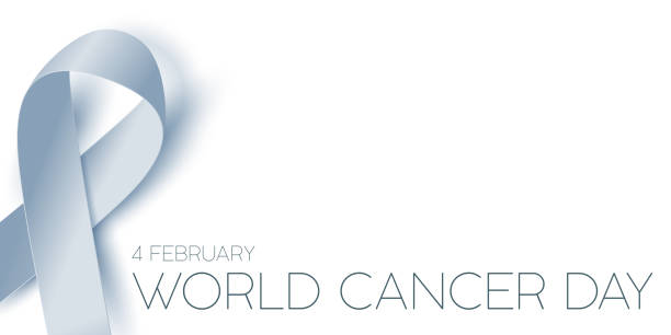 Ribbon and message for World Cancer Day. stock photo
