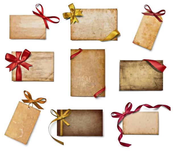 schleife karte feiern sie weihnachten gruß - partylabels stock-fotos und bilder