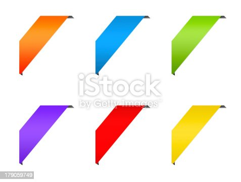 istock Ribbon corner colorful labels set 179059749