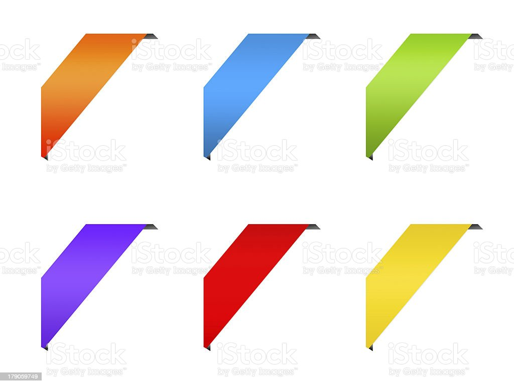 Ribbon corner colorful labels set stock photo