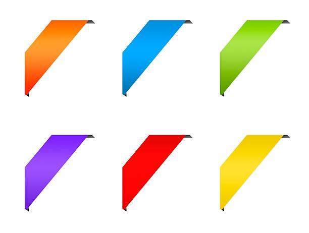rogu wstążki zestaw kolorowe etykiety - róg zdjęcia i obrazy z banku zdjęć
