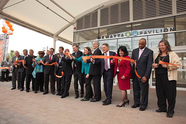 Ribbon cutting Union Station Grand Opening Denver Colorado stock photo