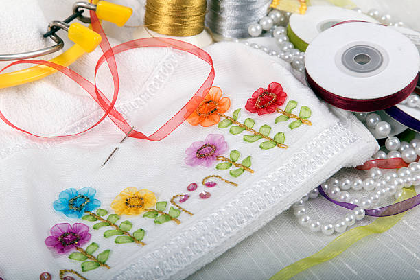 ribbon embroidery stock photo