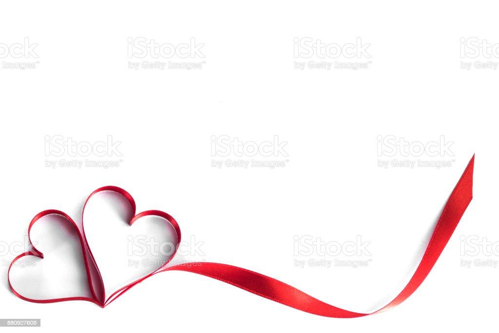 Ribbon hearts on white stock photo