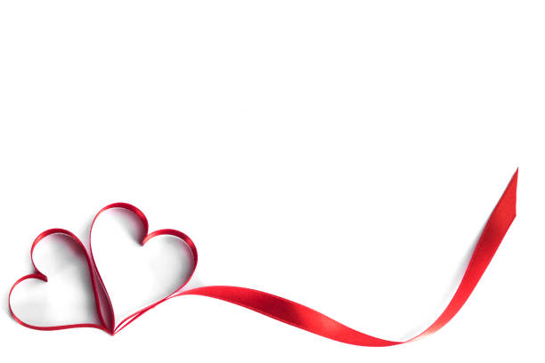ribbon hearts on white - heart shape stock photos and pictures