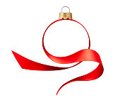 istock Ribbon in the shape of Christmas ball 1281570808