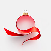 istock Ribbon in the shape of Christmas ball 1284173857