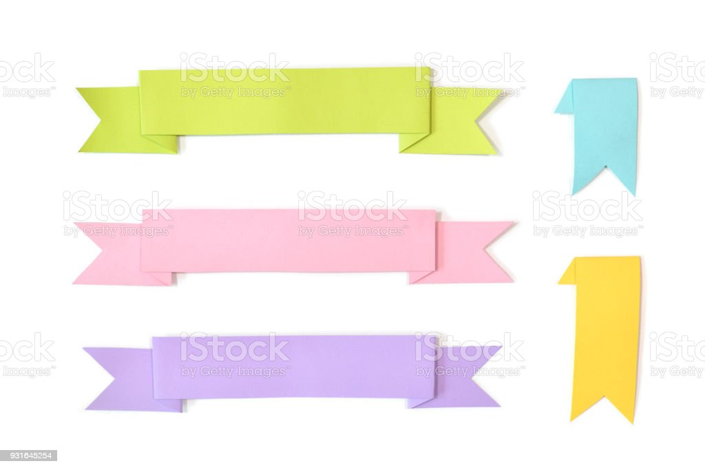 Ribbon paper cut on white background stock photo