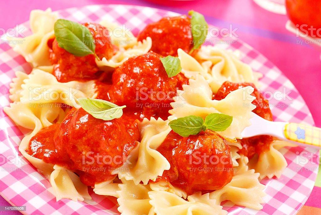 ribbon shape pasta with meat balls royalty-free stock photo