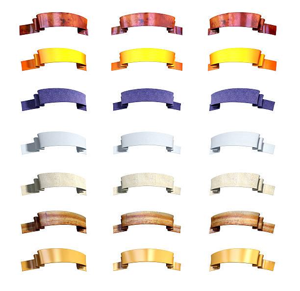 fita três ângulos 7 materiais - gradients golden ribbons imagens e fotografias de stock