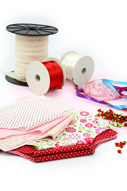 Ribbons, textiles, lace and fabrics stock photo