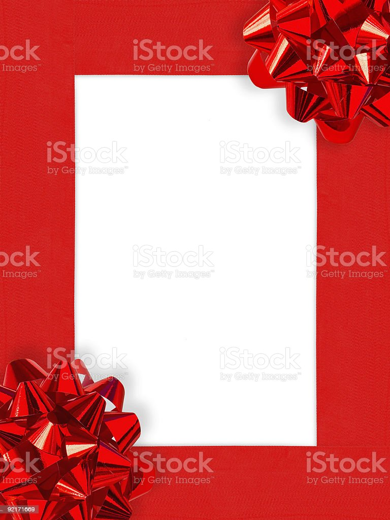 Ribbons&Bows Christmas Frame (+clipping path, XXL) royalty-free stock photo