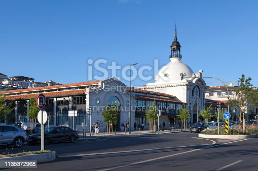 Lisbon, Portugal - June 01 2018: The Ribeira Market (Portuguese: Mercado da Ribeira) is a food and other products market in Cais do Sodré. It has about 10 thousand square meters of covered area.