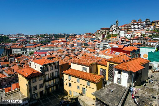 Panorama of Ribeira old town in Porto, Portugal.