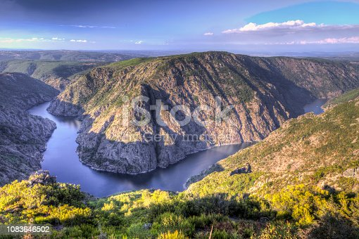 Autumnal landscape of Ribeira Sacra (Sil River Canyons) in Ourense (Galicia) Spain. The river has excavated for centuries on the rocky granite walls to shape the landscape at will natural. Beautiful place inside Galicia in rural mountain.