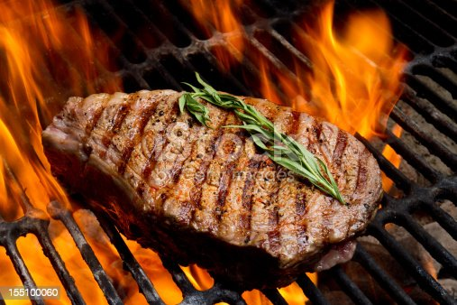 istock Ribeye Steak on Grill with Fire 155100060