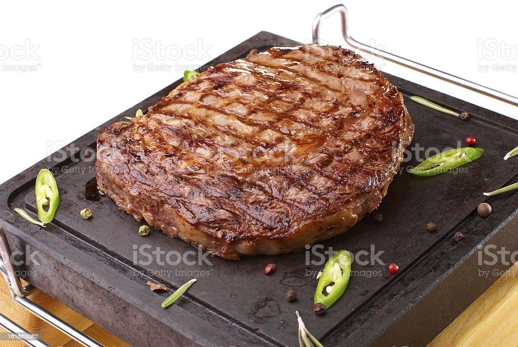 Rib-eye steak resting royalty-free stock photo
