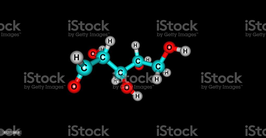 Ribose molecular structure isolated on black stock photo