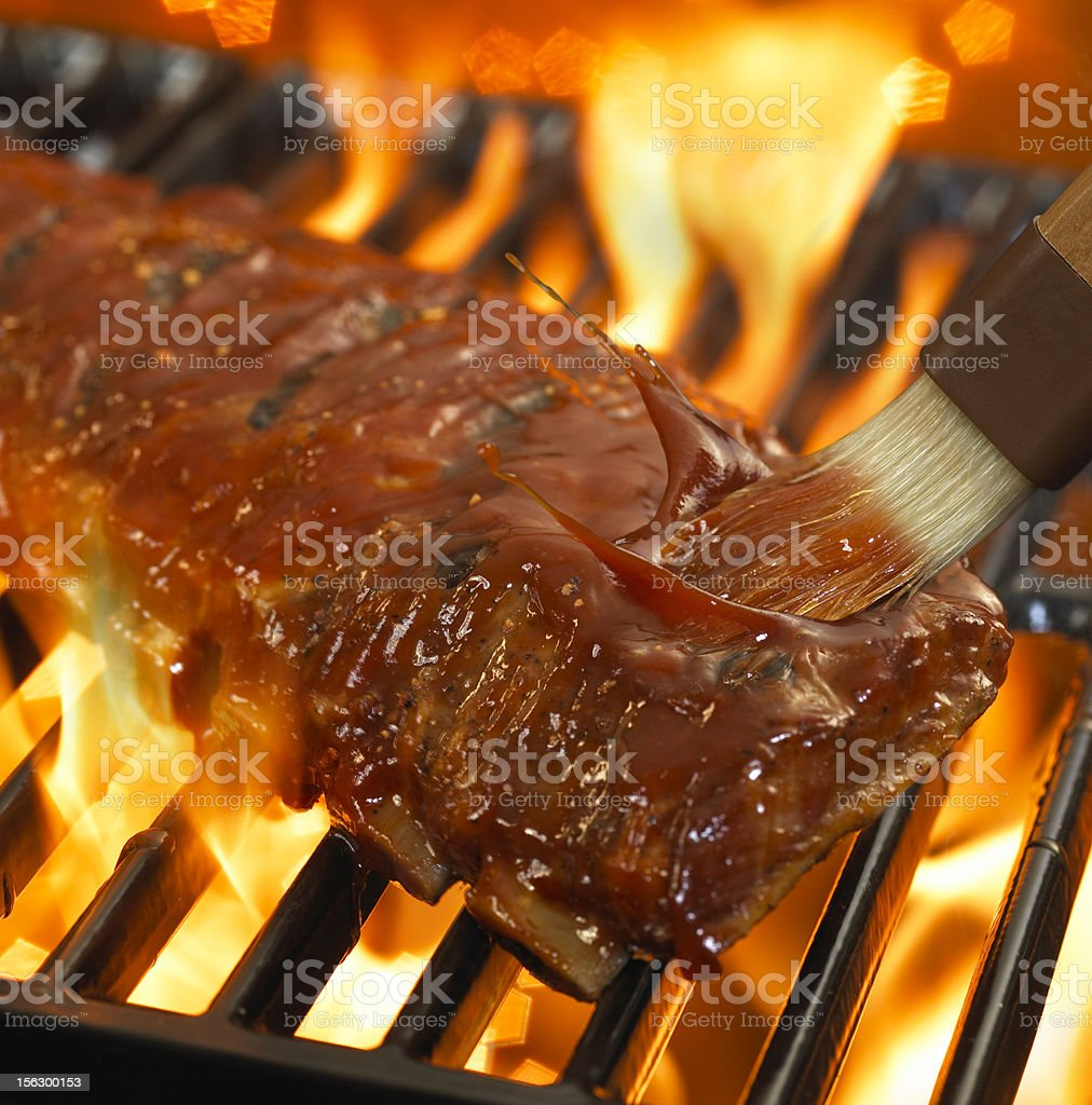 Ribs on Flame stock photo