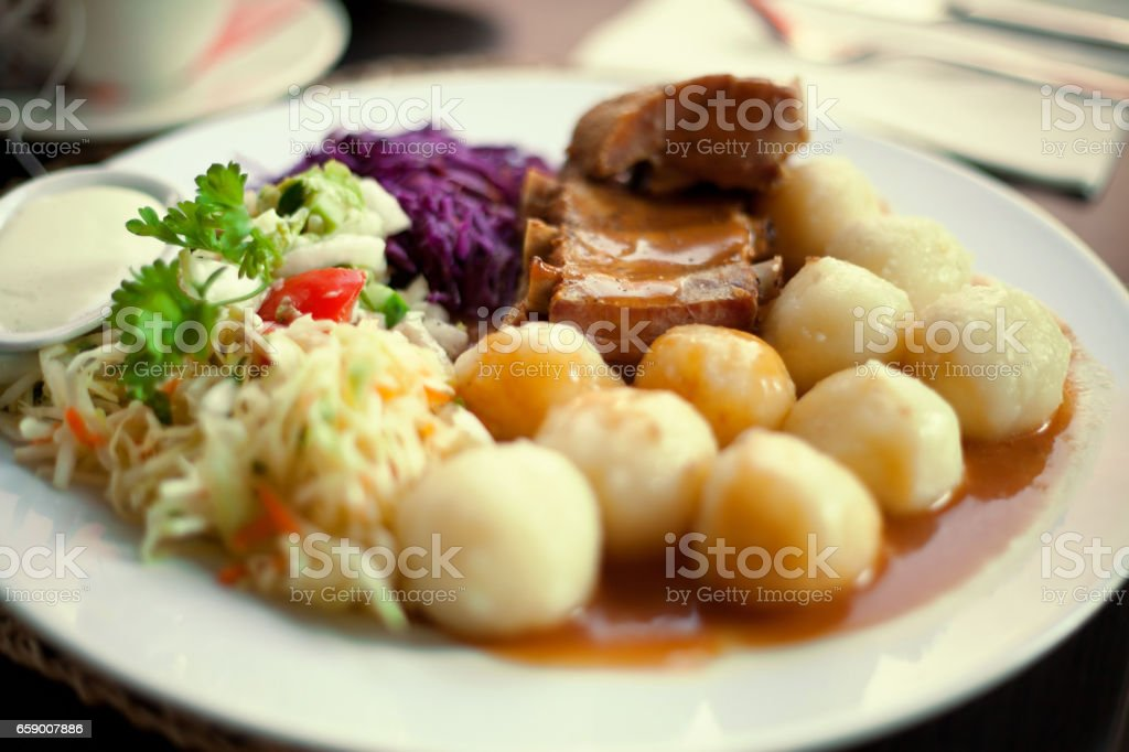 Ribs with gravy and potatoes. royalty-free stock photo