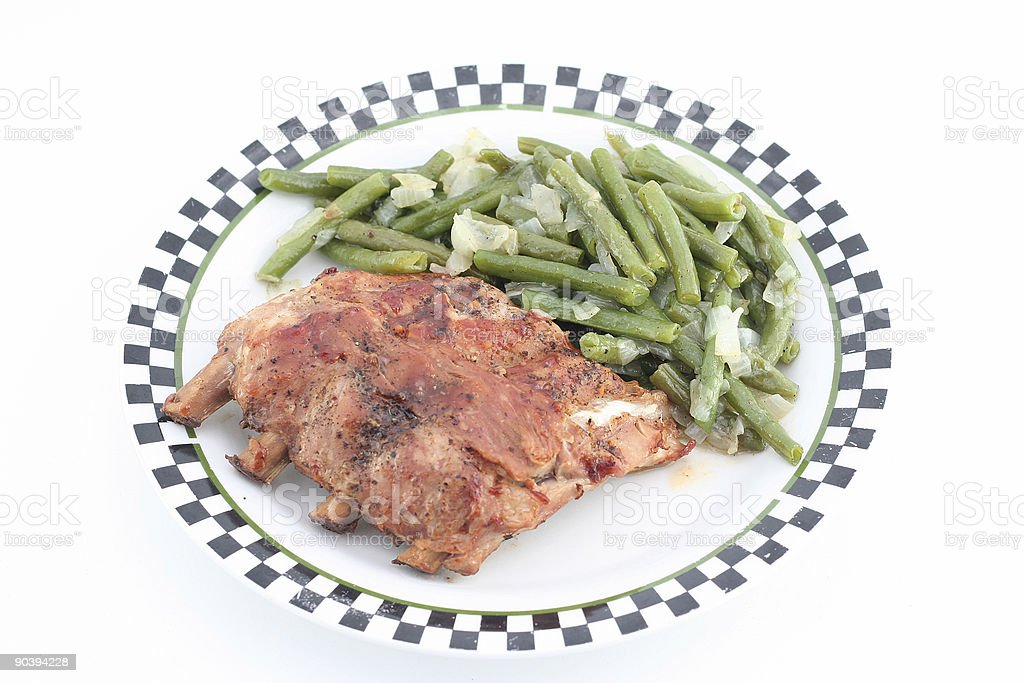 ribs with green beans royalty-free stock photo