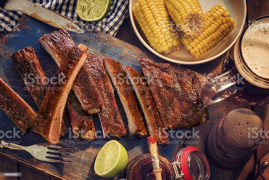 BBQ Ribs with Steamed Sweetcorn stock photo