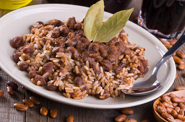 Rice and beans. stock photo