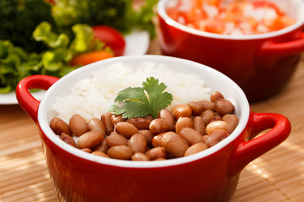 rice and beans - bean stock photos and pictures