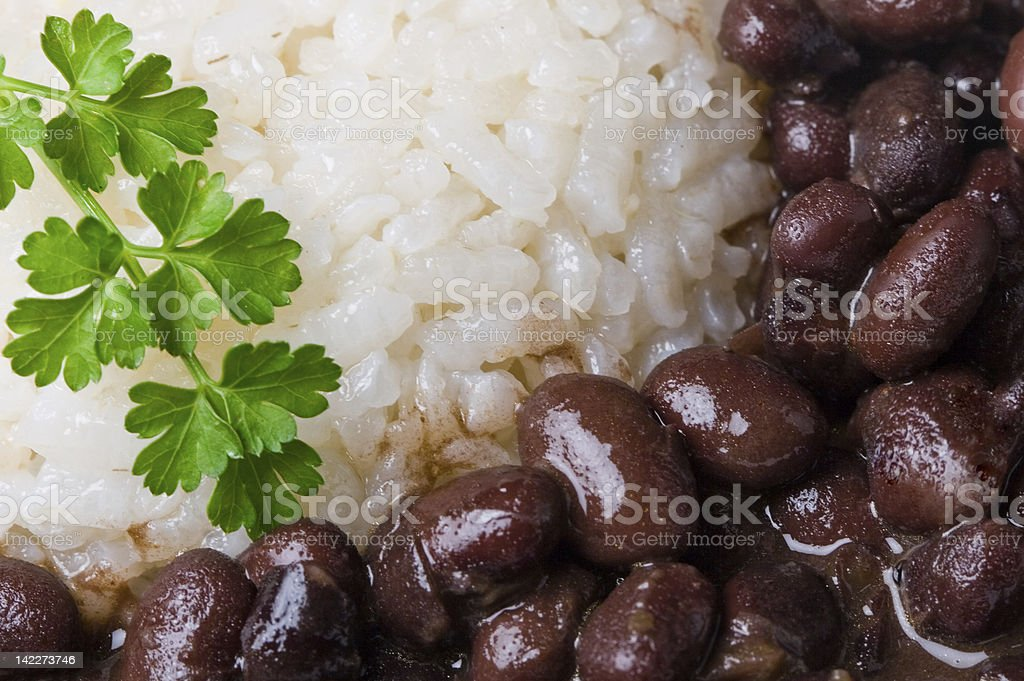 Rice and black beans stock photo