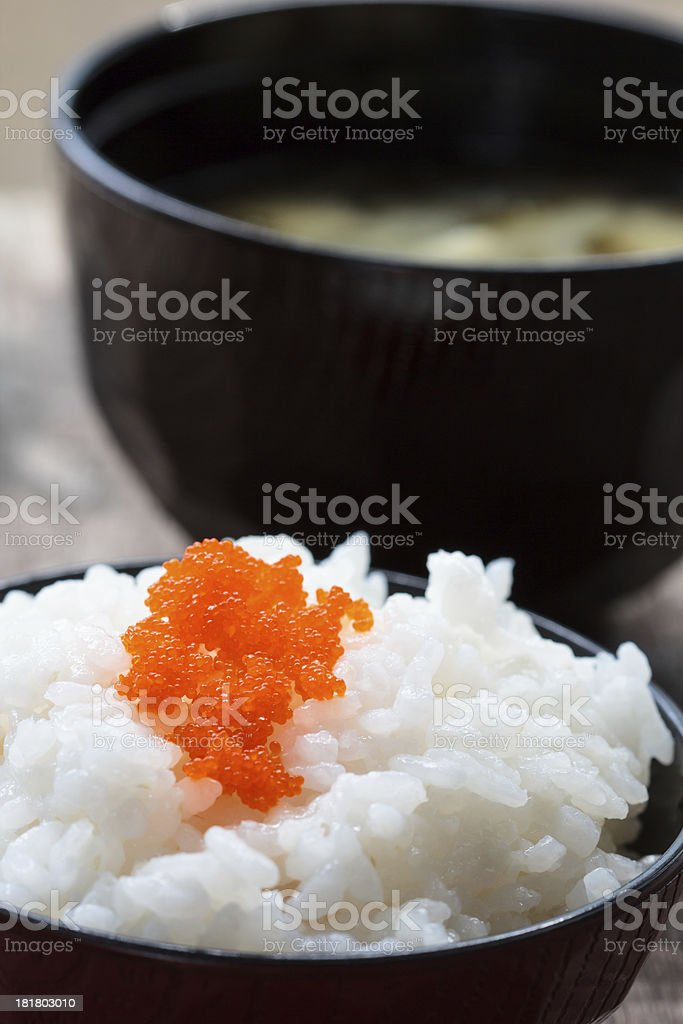 Rice and Miso soup royalty-free stock photo
