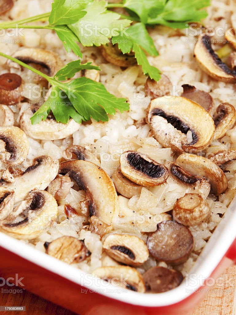 Rice and mushrooms casserole royalty-free stock photo