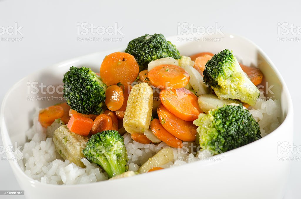Rice and sautéed vegetables royalty-free stock photo