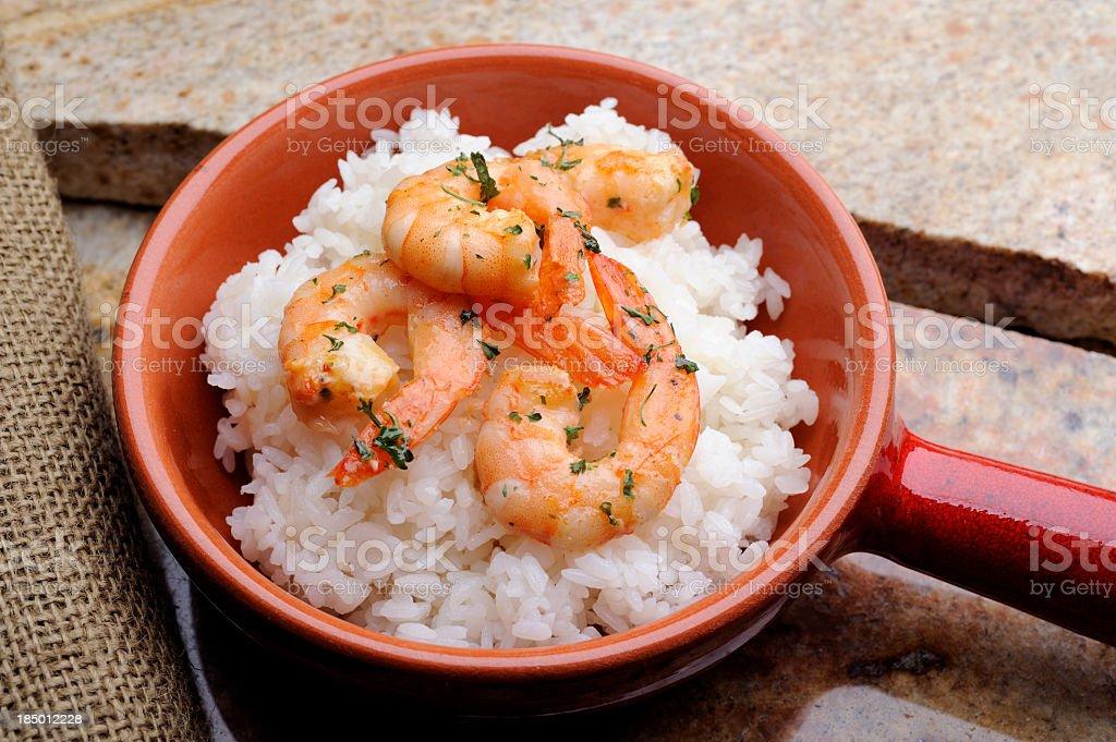 Rice and Shrimp. royalty-free stock photo