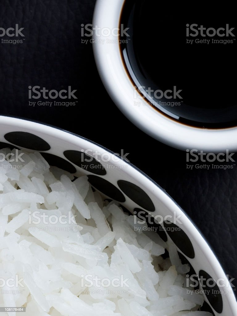 Rice and soy sauce stock photo