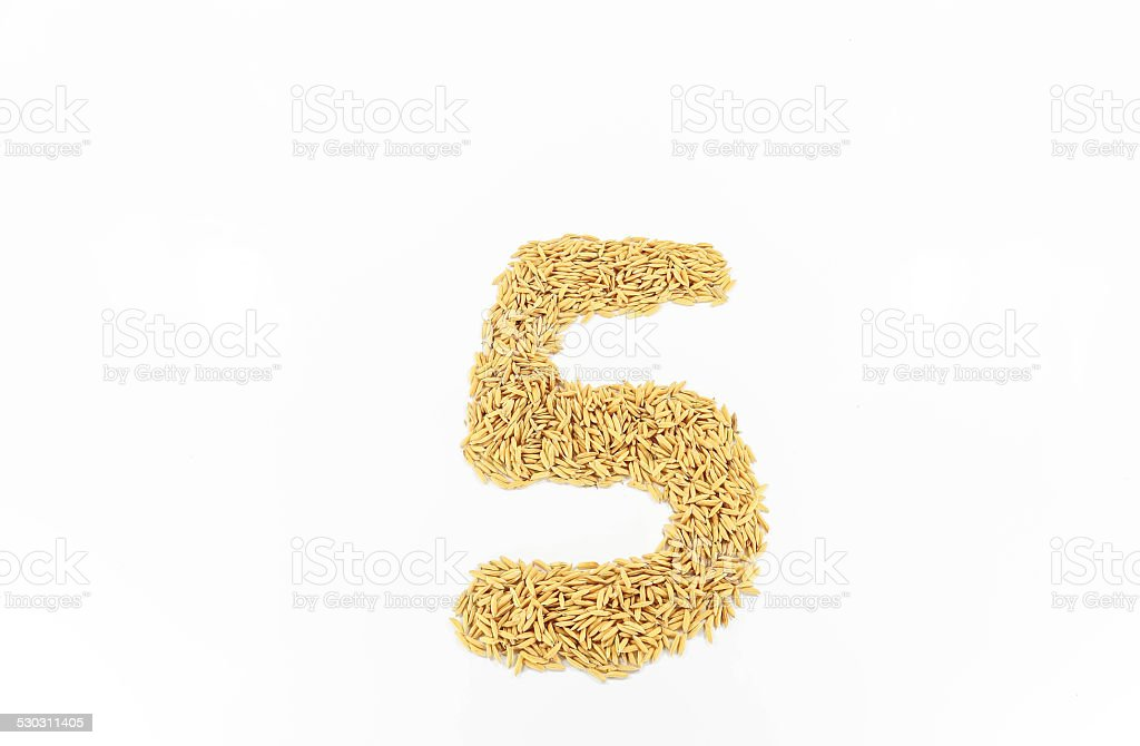 Rice arranged a number five stock photo