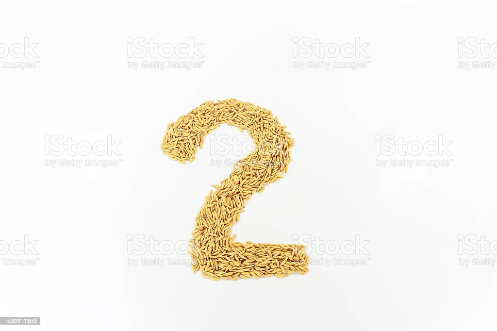 Rice arranged a number two. stock photo