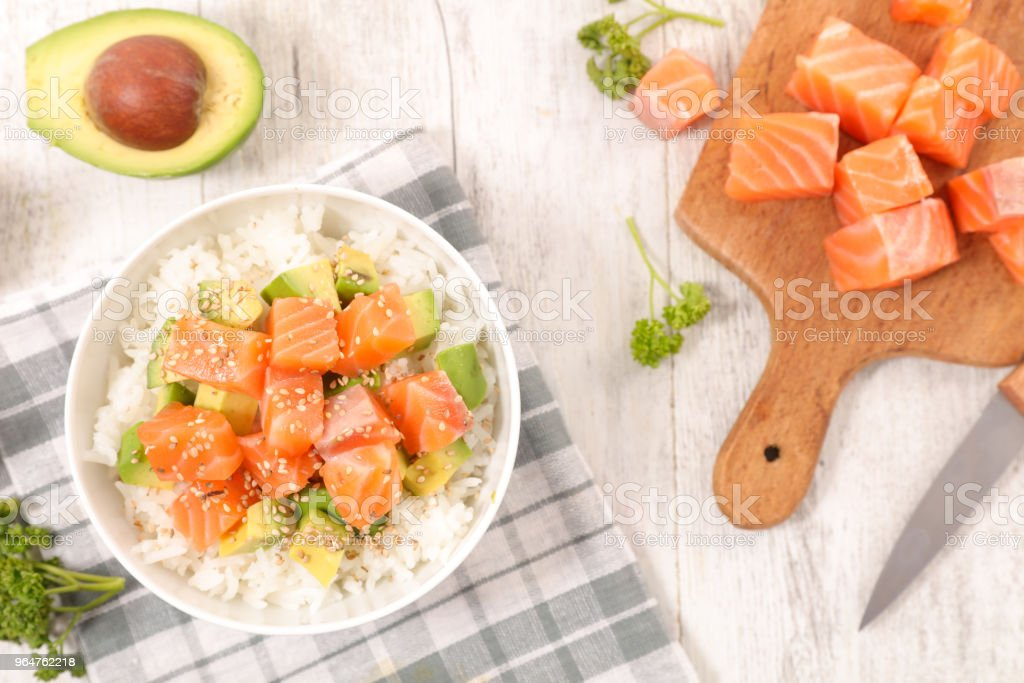 rice, avocado and salmon royalty-free stock photo