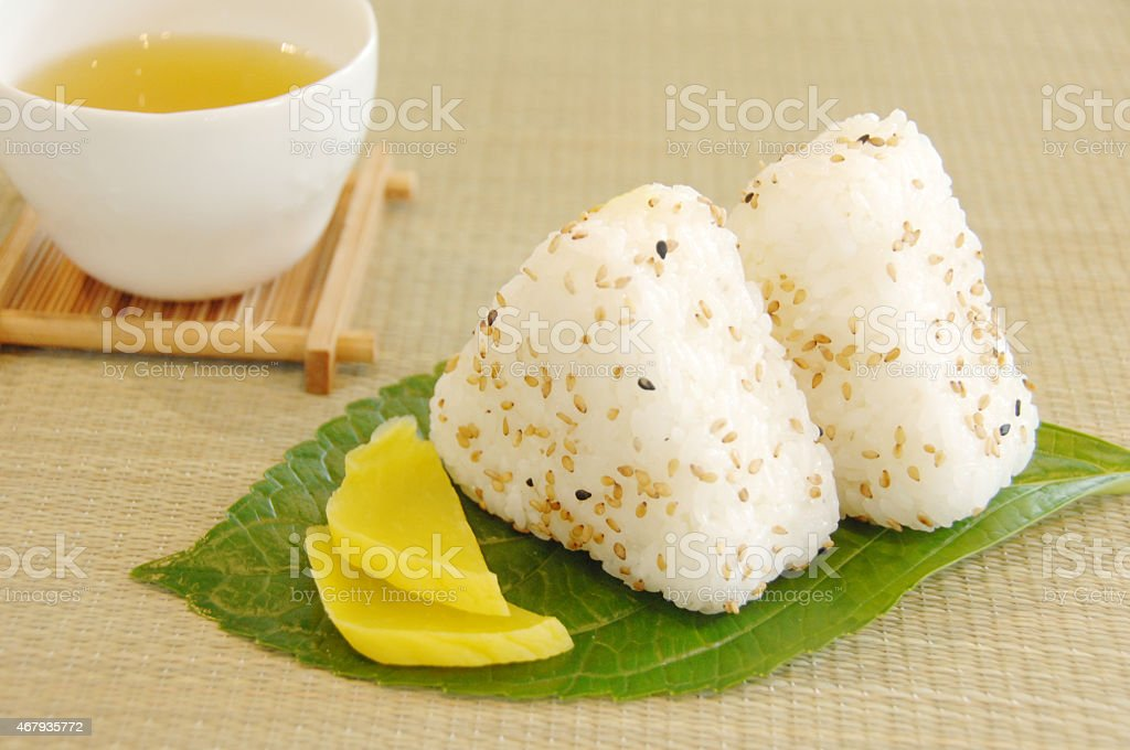 Rice balls with pickles stock photo
