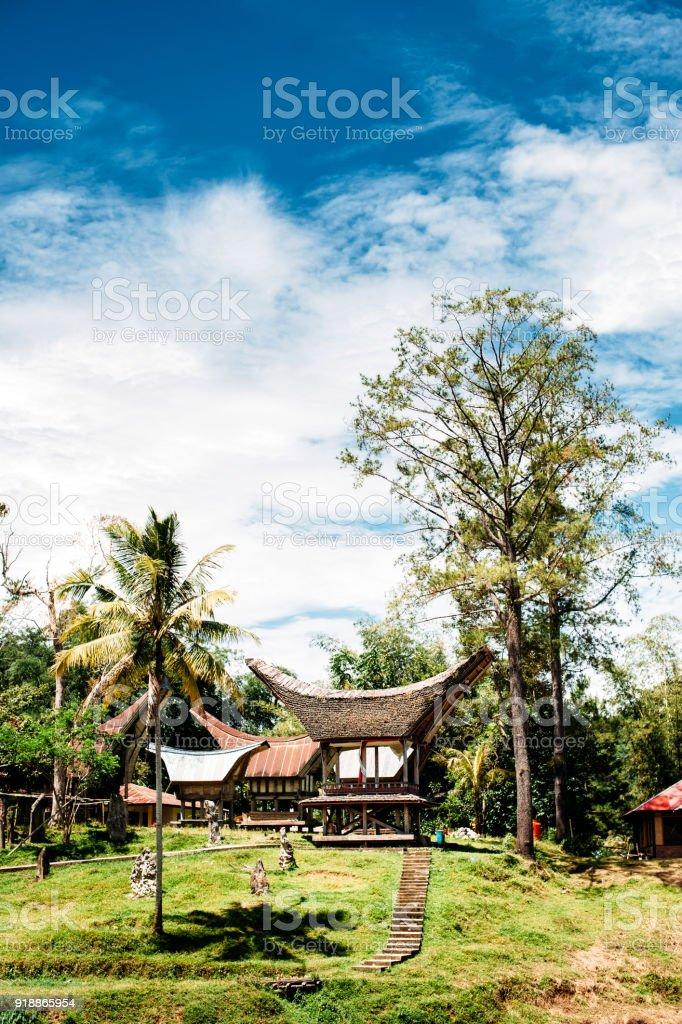 Rice barns in a traditional Tana Toraja village, tongkonan houses and buildings. Sunny, blue sky with clouds. Kete Kesu, Rantepao, Sulawesi, Indonesia stock photo