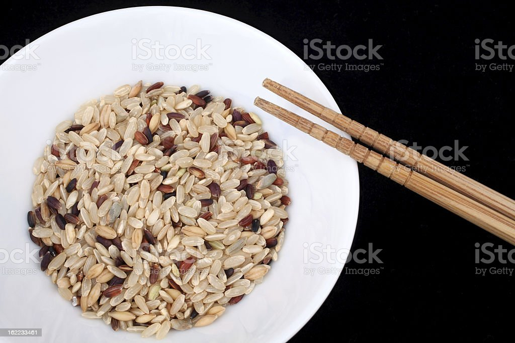 Rice Bowl and Chopsticks stock photo