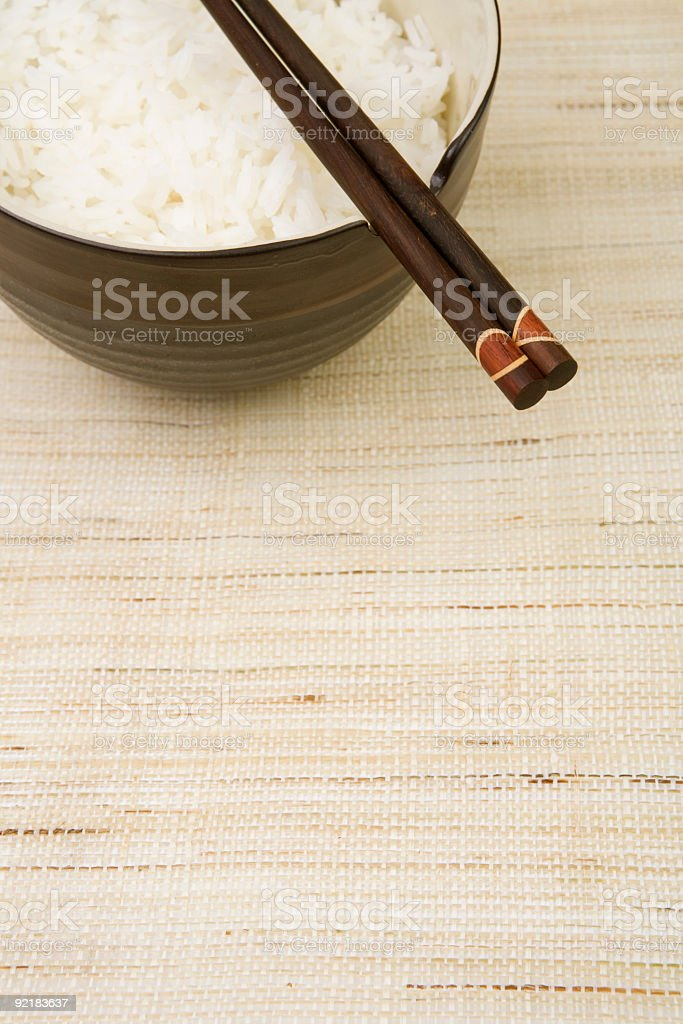 Rice Bowl w/ Chopsticks royalty-free stock photo